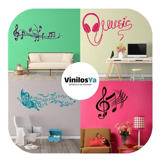 Vinilos Decorativos Pared Nota Musical Auricular Microfonos