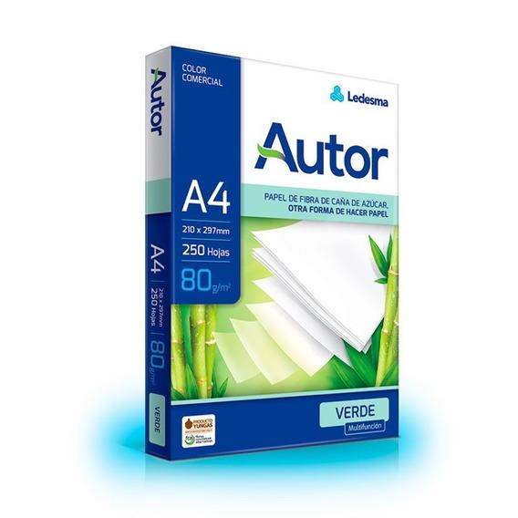 Resma Autor A4 80 Gr Color Verde Paquete X 250 Hojas