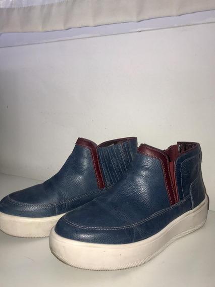 Zapatillas Bota Heyas Azules Con Detalles En Bordo