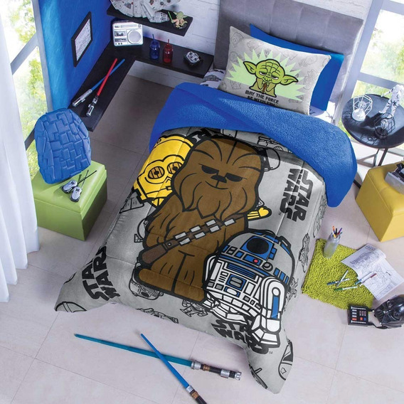 Cobertor Borrega Star Wars Individual Poliester Gris Concord