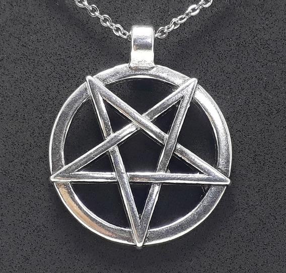 Pingente Pentagrama Invertido Baphomet Wicca Metal Satanismo