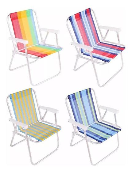10 Cadeiras De Praia Alta Alumínio Cores Sortidas Belfix