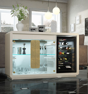 Mueble Porta Cava Bodega Vajillero Laqueado Diseño Moderno