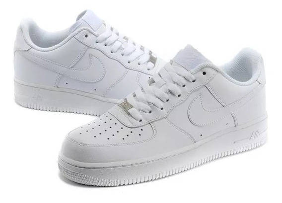 Tenis Air Force Cano Baixo Low One 1 Skate Todo Branca !!