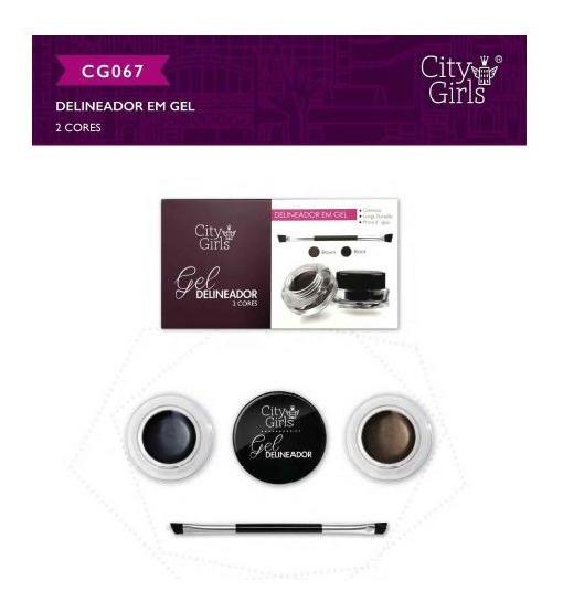 Kit 6 Delineador Em Gel City Girls - Gel Delineador 2 Cores