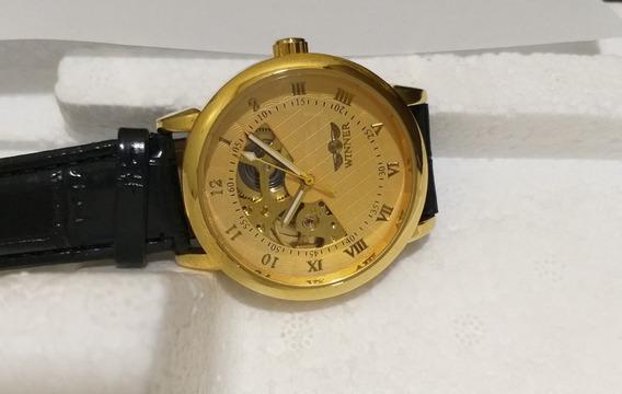Relógio De Luxo Barato Na Caixa Dourado Winner + Brinde