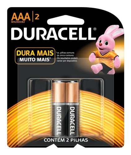 Pilha Duracell Alcalina Palito Aaa C/2