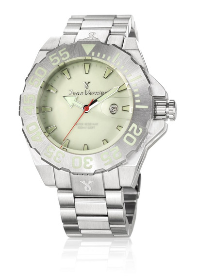 Relógio Pulso Jean Vernier Caixa Aço Masculino 50atm Moderno