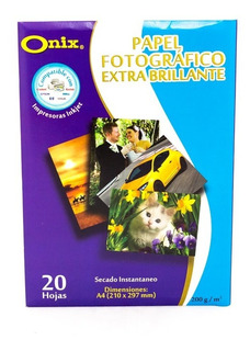 Papel Fotografico Brillante A4 200 Gr Onix X 20 Unidades