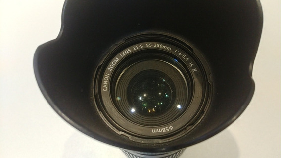 Lente Zoom Canon Dslr - 55-250mm Com Estabilizador E Parasol