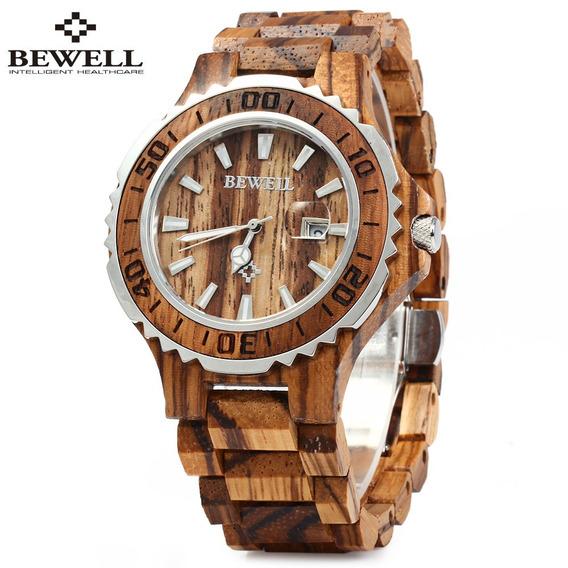 Bewell Zs -100bg De De Madeira Homens Relógio Quartzo Com Mã