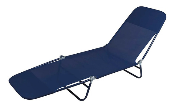 Cadeira Espreguiçadeira Praia Piscina Textilene Azul Mor