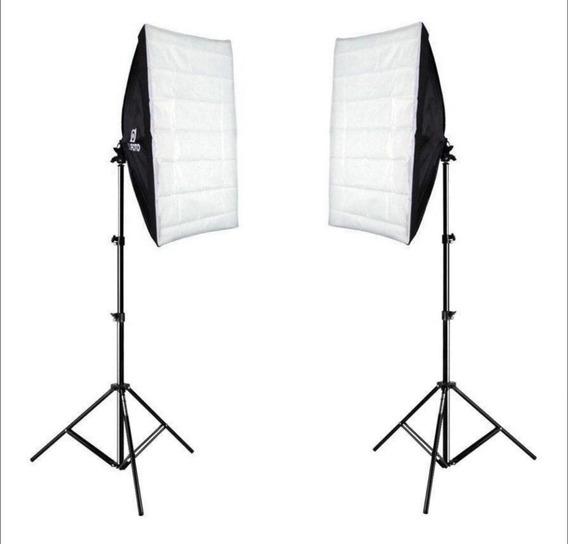 Kit Iluminação Tripés Atek 1,8m E Softboxes 50x70cm Sou Foto
