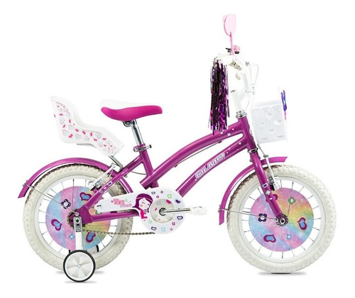 Imagen 1 de 2 de Bicicleta infantil Olmo Infantiles Tiny Friends R16 frenos v-brakes color violeta con ruedas de entrenamiento