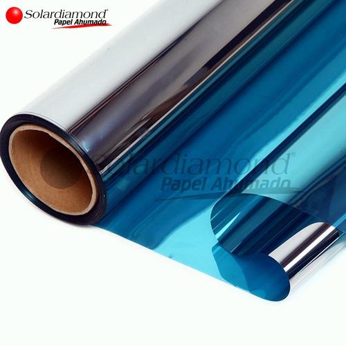 Papel Ahumado Espejo Azul 1m X 4.5m Solardiamond Hp