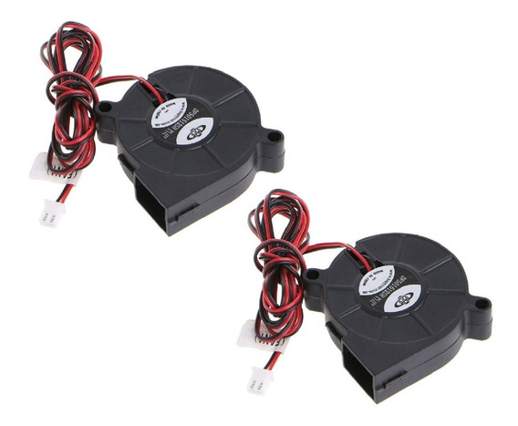 Kit Com 2 Mini Ventilador Turbo Radial Cooler 50mm 12 Volts Para Impressora 3d Com Chicote E Conector