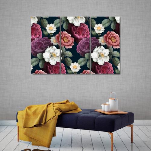 Kit 3 Quadros Decorativos Moderno Floral Flores Em Mdf 6mm