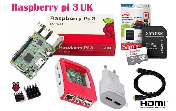 Kit Raspberry Pi3 B + Case Orig + Fonte + Dissipadors + 16gb