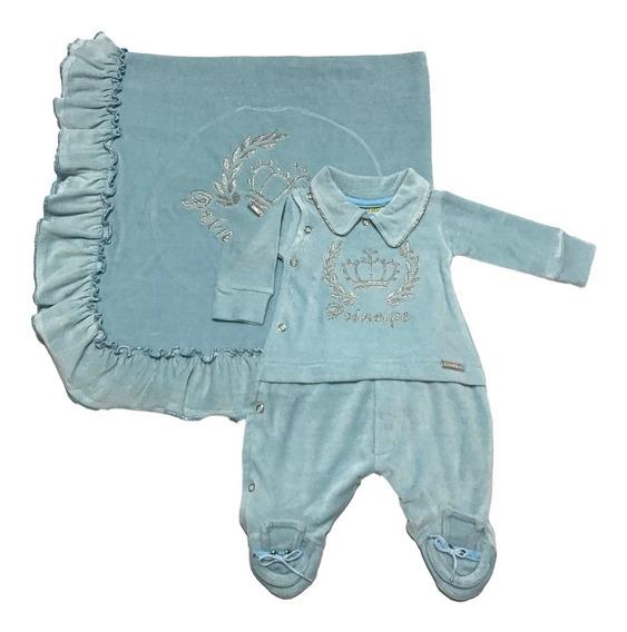 Saída De Maternidade Azul Claro