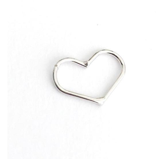 Piercing De Orelha Cartilagem Coração Ouro Branco 18k
