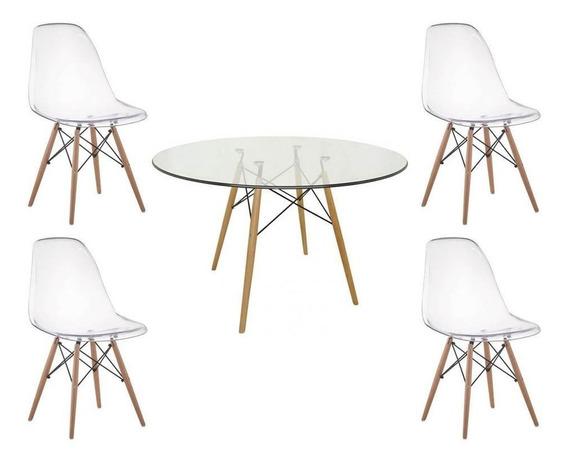 Mesa Redonda Eames 90cm Com Tampo De Vidro E 4 Cadeiras Eame