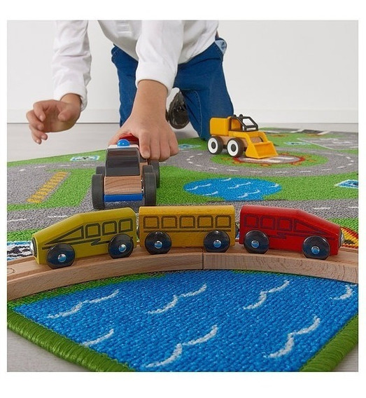Alfombra Carpeta Infantil Pista De Autos 75 X 133 Helipuerto