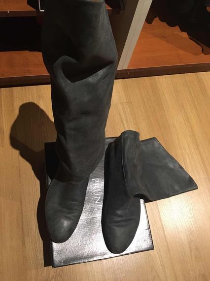 Botas De Cuero Caña Alta Prune