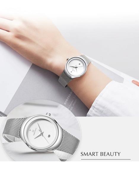 Relógio Feminino Prata Naviforce 5004