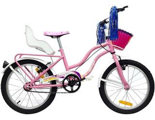 Bicicleta Paseo R16 Sillita Canasto Nena Rosa + Pie + Flecos