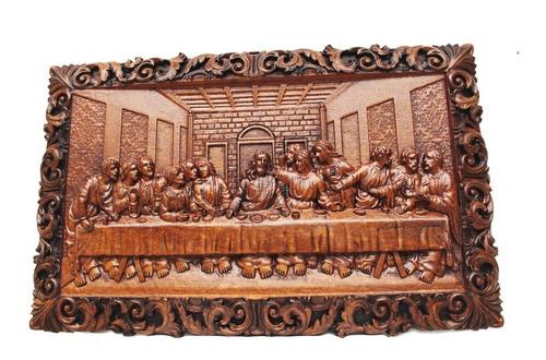 Quadro Santa Ceia, De Madeira, Esculpido, Em Madeira Nobre