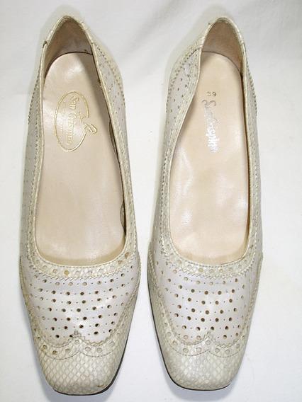 Zapatos San Crispino Cremita, Talle 39 Cuero Y Reptil