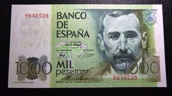 España Billete 1000 Pesetas Unc 1979 Benito Perez Galdos