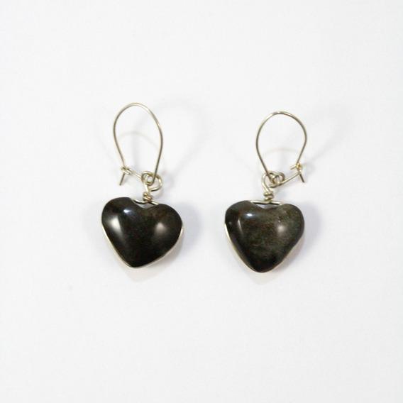 Aretes Corazón Obsidiana Dorada
