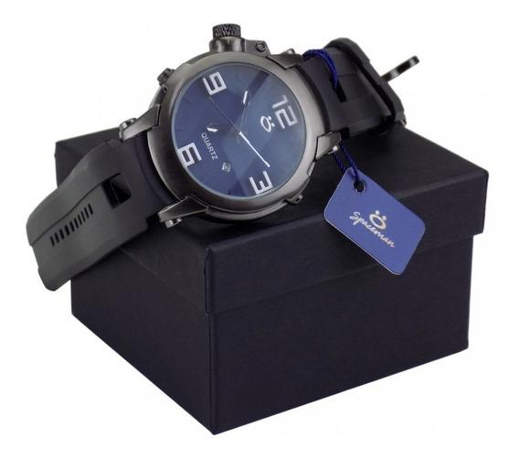 Relógio Masculino Original Preto Pulseira Borracha Barato