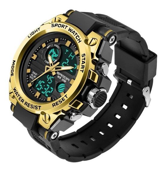 Relógiosanda 739 Preto Com Dourado Com Caixa / Frete Grátis