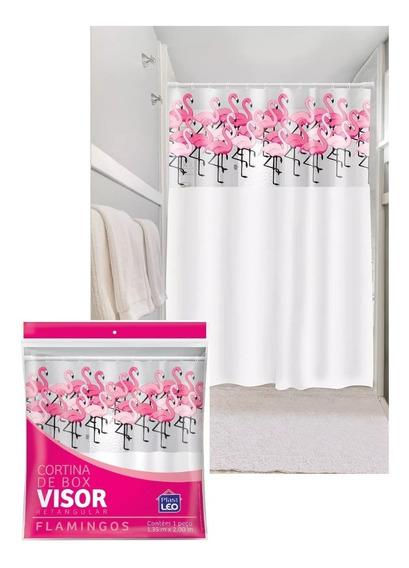 Cortina Box Chuveiro Reforçada Flamingo Ganchos 1,35 X 2,00