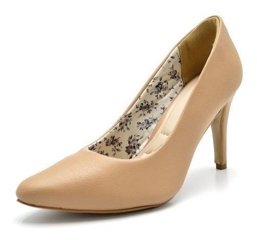 Sapato Scarpin Salto Alto Fino Napa E Tecido Conforto Social