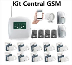 Kit Central De Alarme Gsm Com Aplicativo+12 Sensores+sirene