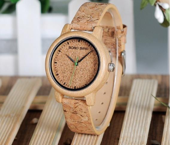 Relógio Feminino Bobo Bird Madeira Bambu Analógico Cortiça