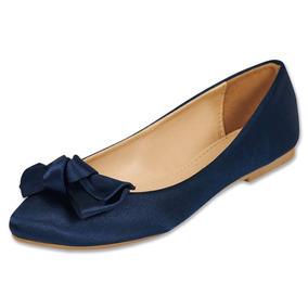 Calzado Dama Mujer Zapato Casual Flat Razo En Marino Comodo
