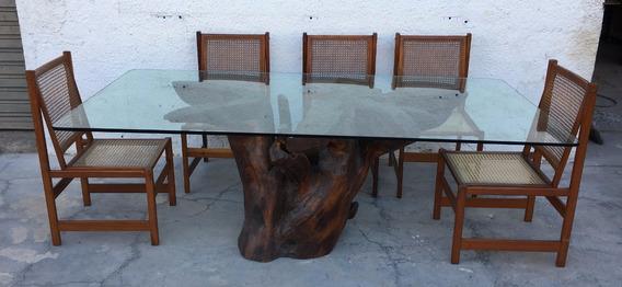 Mesa De Jantar Base Tronco De Arvore Tampo Vidro Sem Cadeira