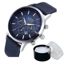 Relógio North Original De Luxo Pulseira Couro Modelo 6009