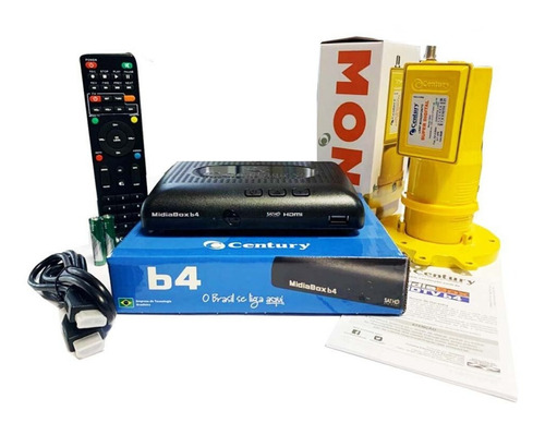 Kit Receptor Conversor Midiabox B4+ Lnbf Monoponto Century