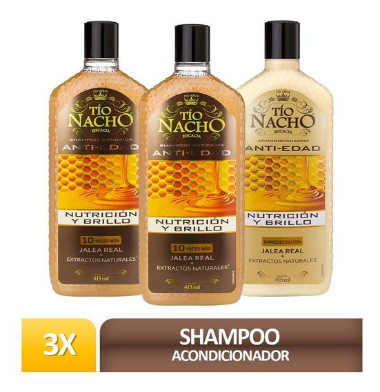 Pack Tío Nacho Jalea Real 02 Shampoo + 01 Acond. C/u 415ml