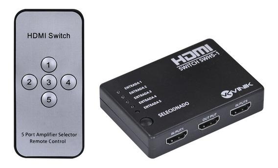 Switch Hdmi 5 Entradas 1 Saída 1.3v Suporte 3d E 1080p Vinik