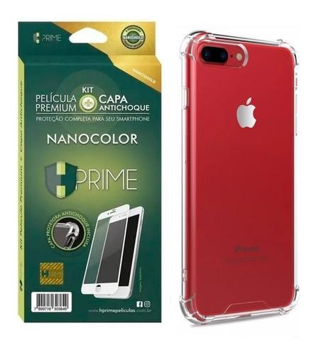 Imagem 1 de 3 de Kit Premium Película + Capinha iPhone 7 Plus 8 Plus Hprime