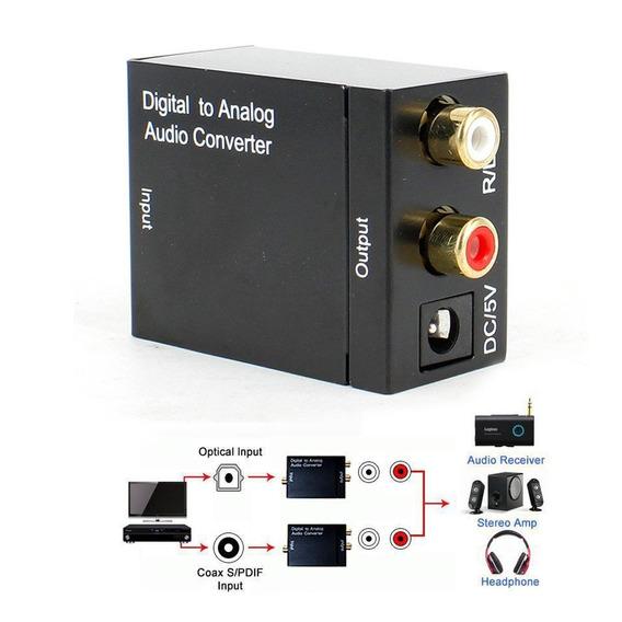 02 Conversor Audio Fibra X Analogico Rca Home Theater Tv