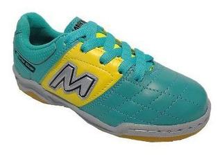 Chuteira Infantil Mathaus Menino Verde/amarelo Futsal