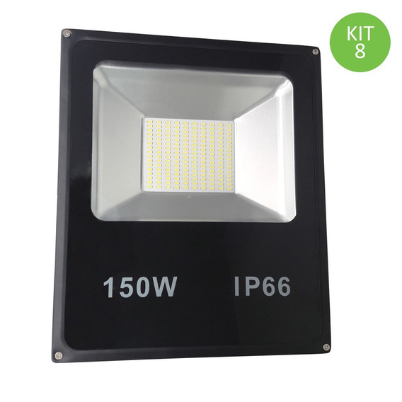 Refletor Led Smd 150w Branco Frio Ip66 Bivolt Kit 8