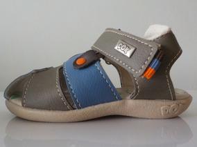 Sandalia Infantil Menino Dok West Castanho E Azul Jeans